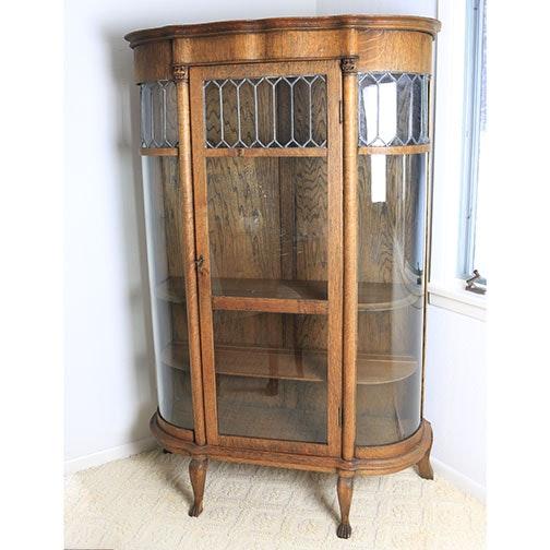 Oak Bow-Front Curio Cabinet