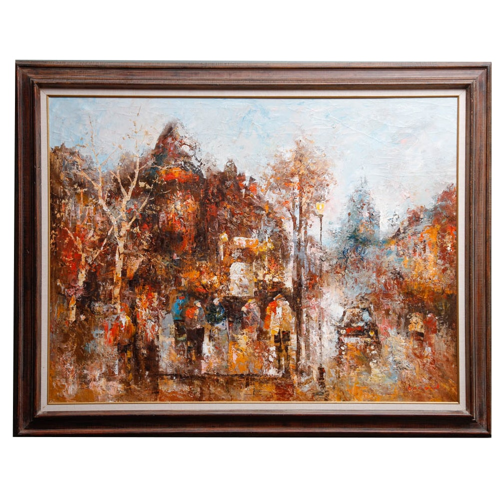 Oil on Canvas of Abstract Cityscape Signed Barton