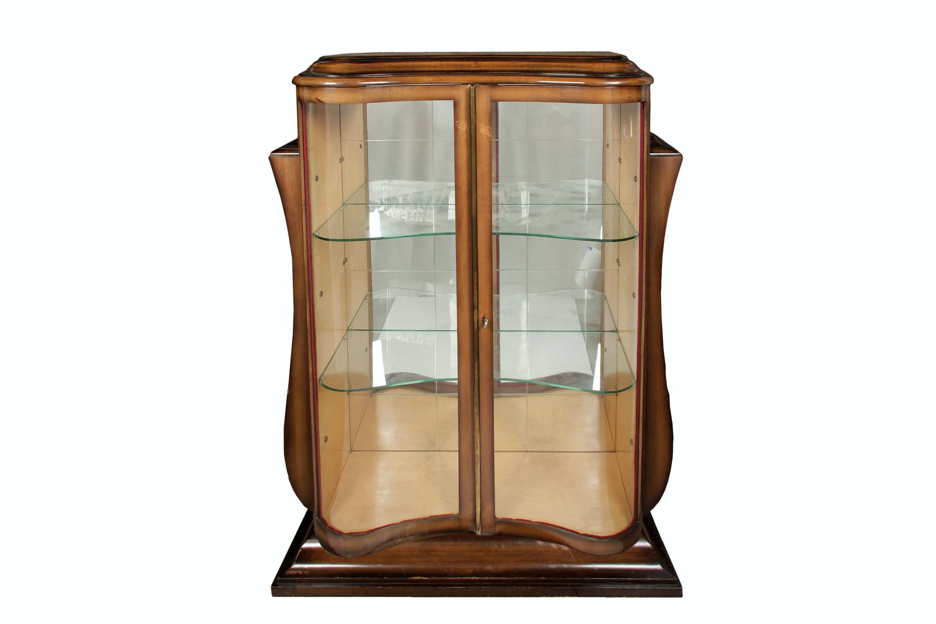 Art Deco Display Cabinet with Wavy Front