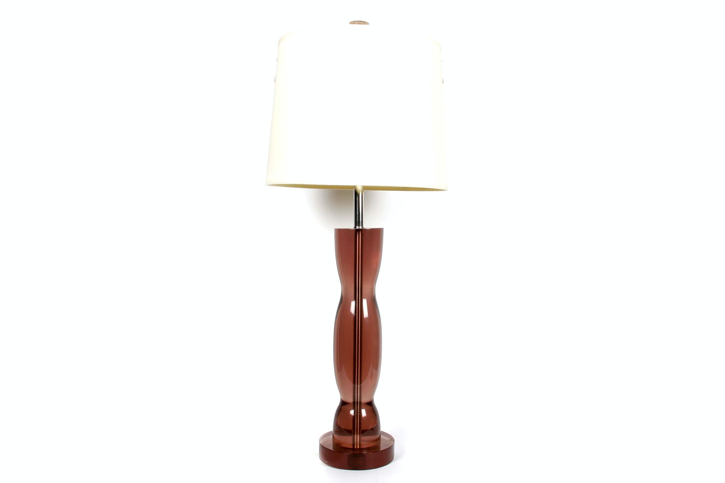 Tall Signed Pinkish Grey Acrylic Lamp with Shade