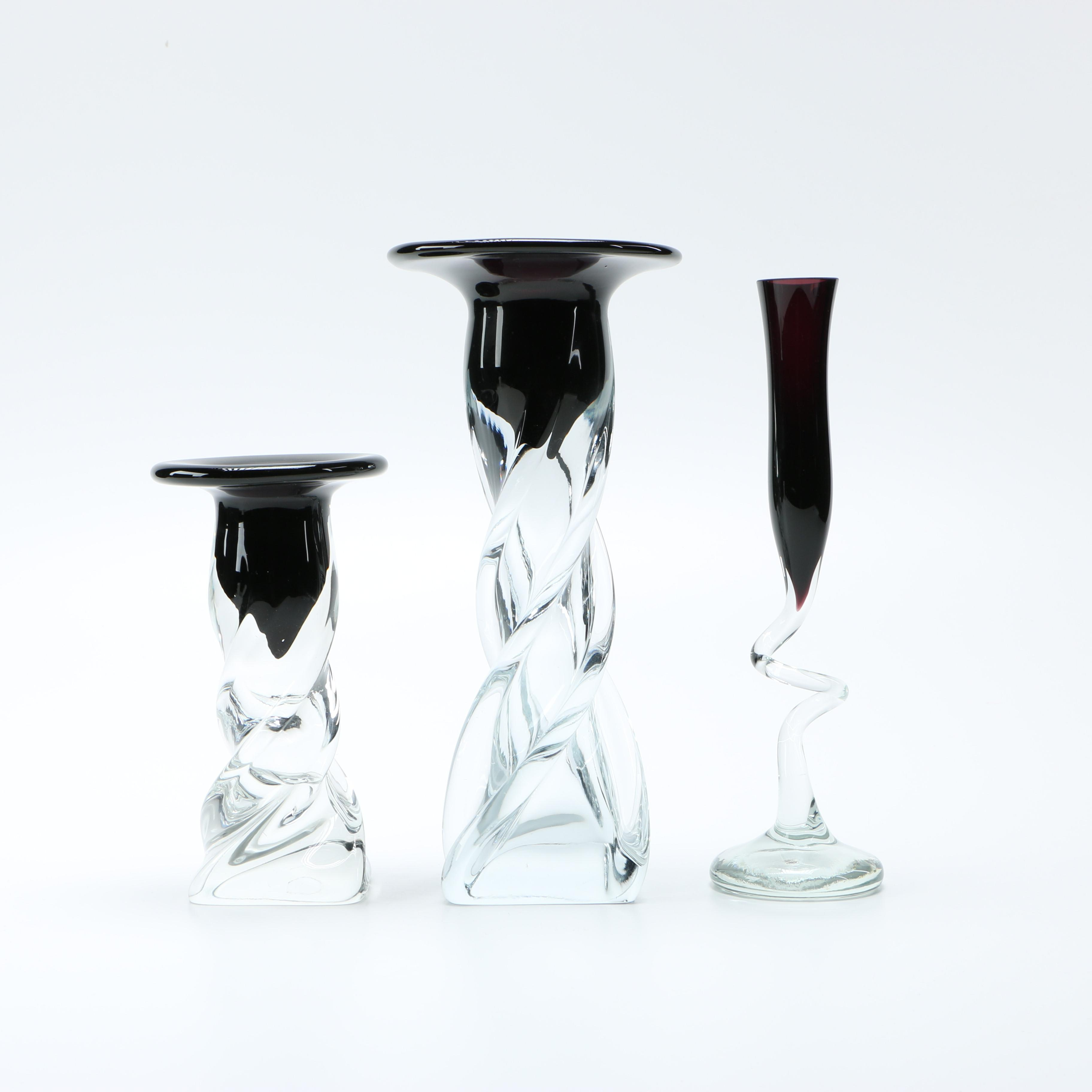 Black and Clear Glass Candleholders