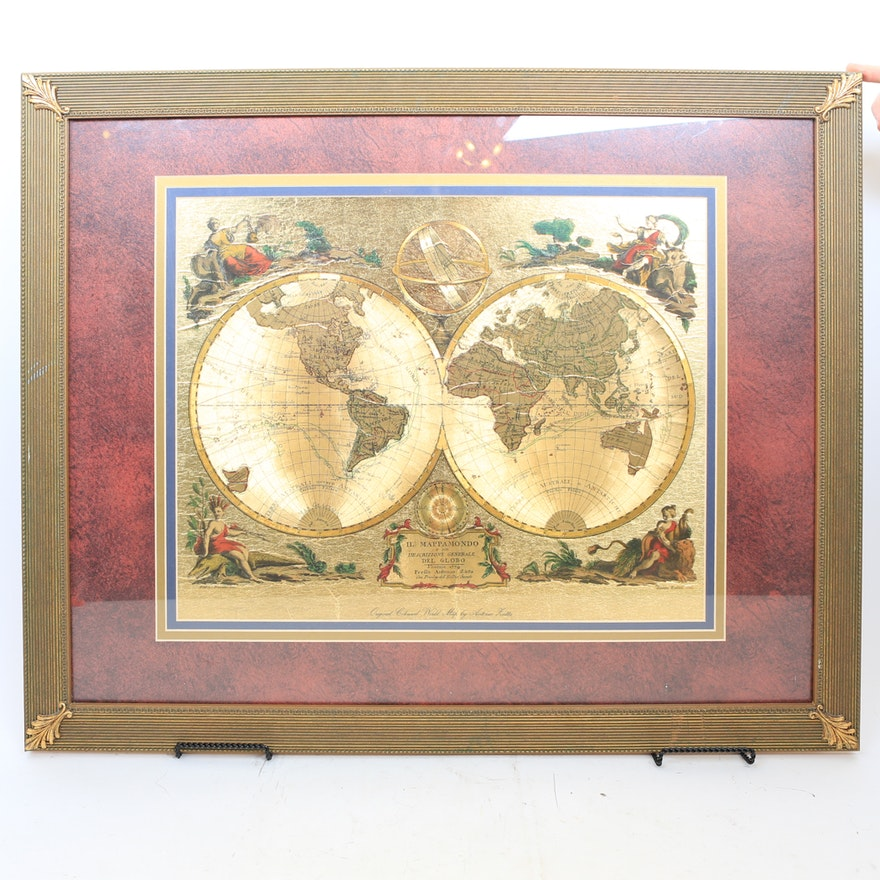 Framed print of original world map by antonio zatta ebth framed print of original world map by antonio zatta gumiabroncs Gallery