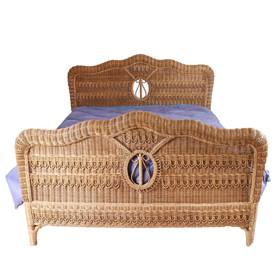 Queen Size Wicker Bed Frame