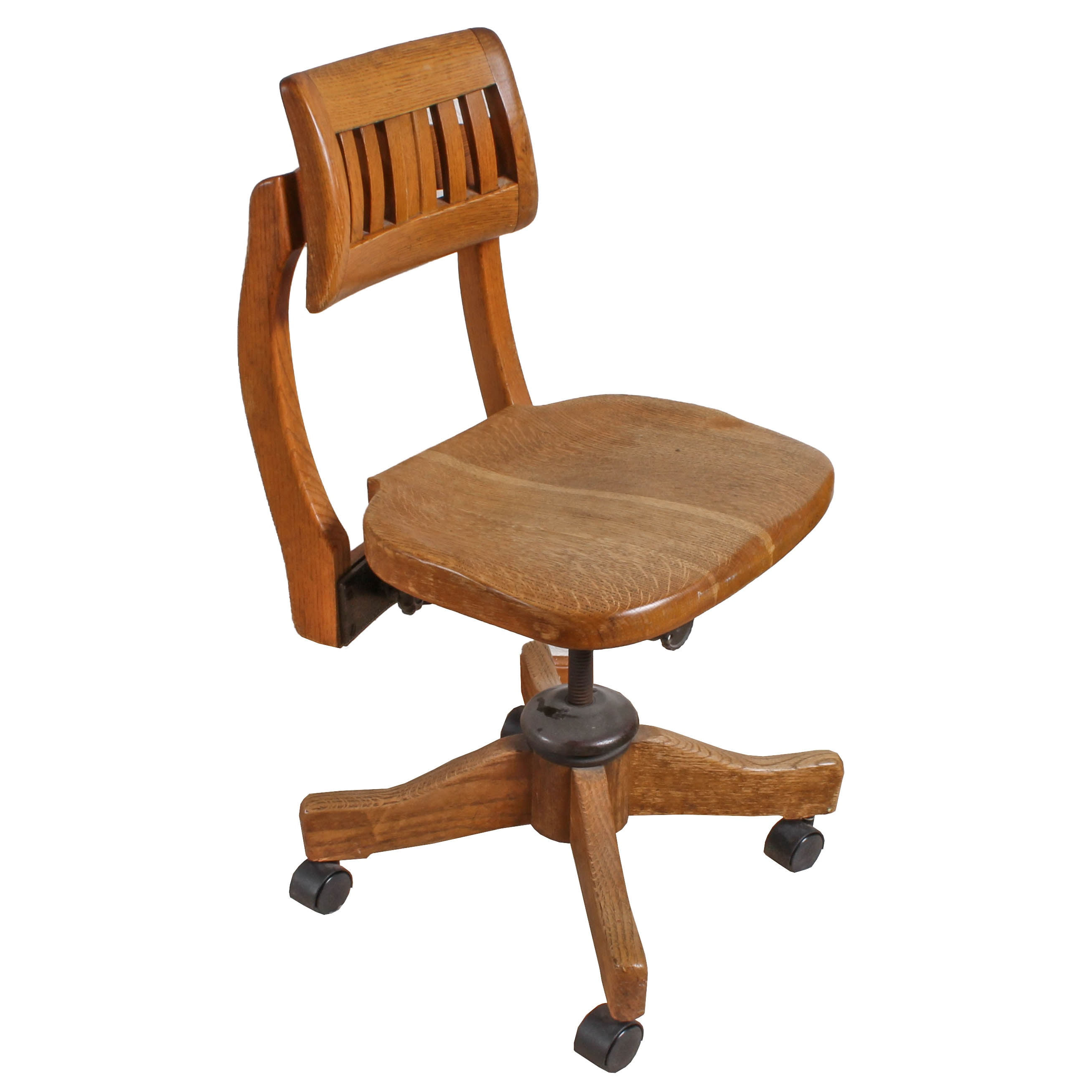 adjustable oak office chair : ebth