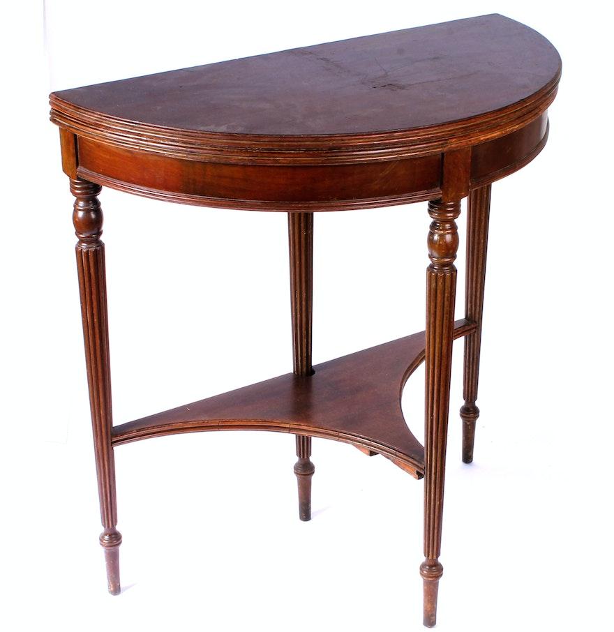 Vintage mahogany demilune console table ebth vintage mahogany demilune console table geotapseo Gallery