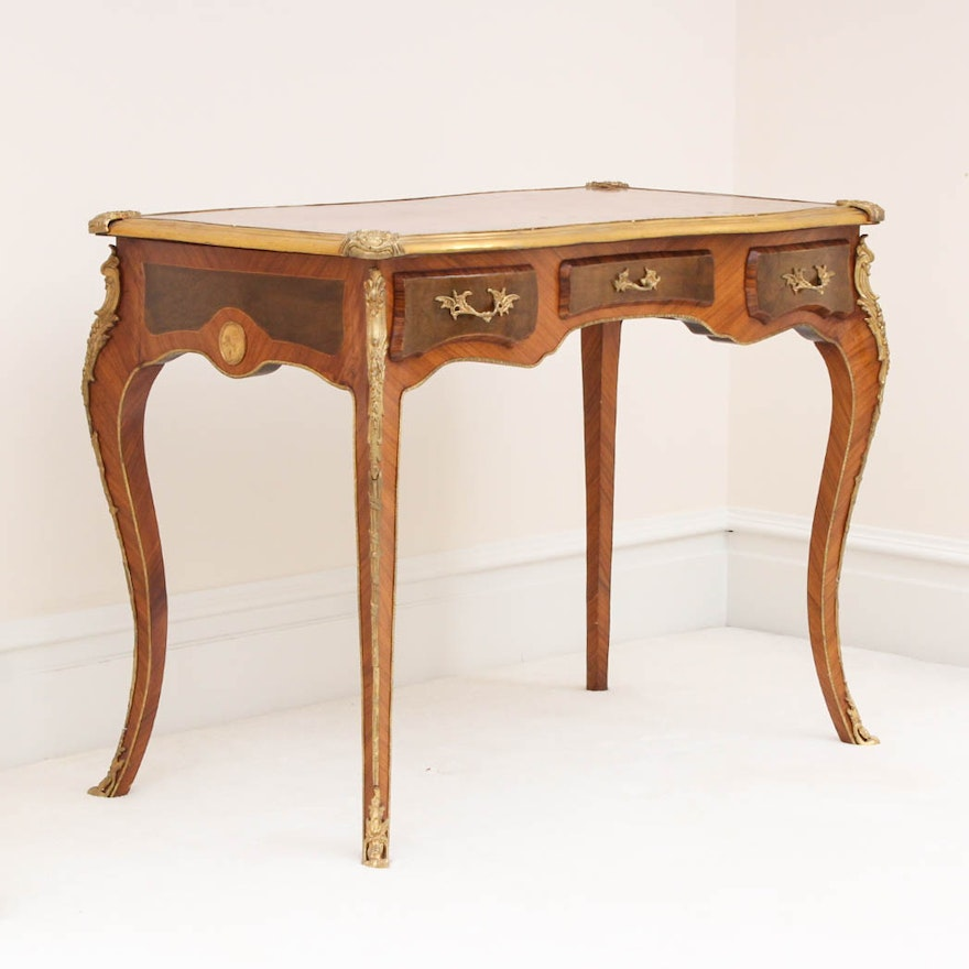 Antique French Inlaid Wood and Brass Desk ... - Antique French Inlaid Wood And Brass Desk : EBTH