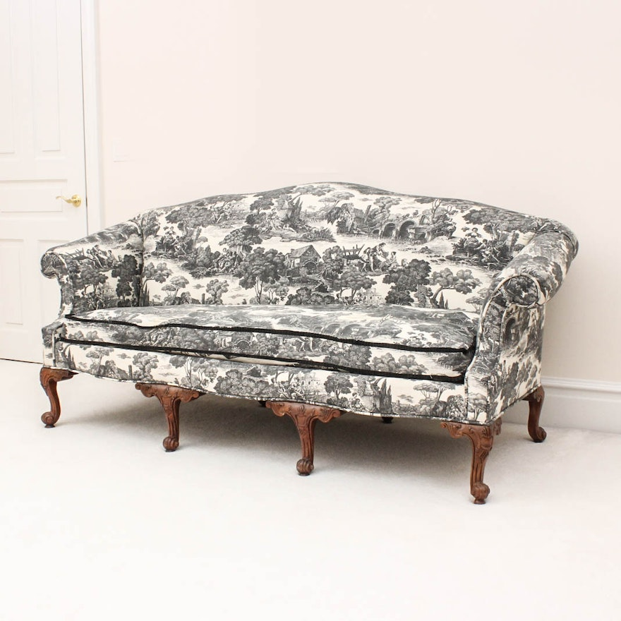 Antique Chippendale Style Toile Sofa