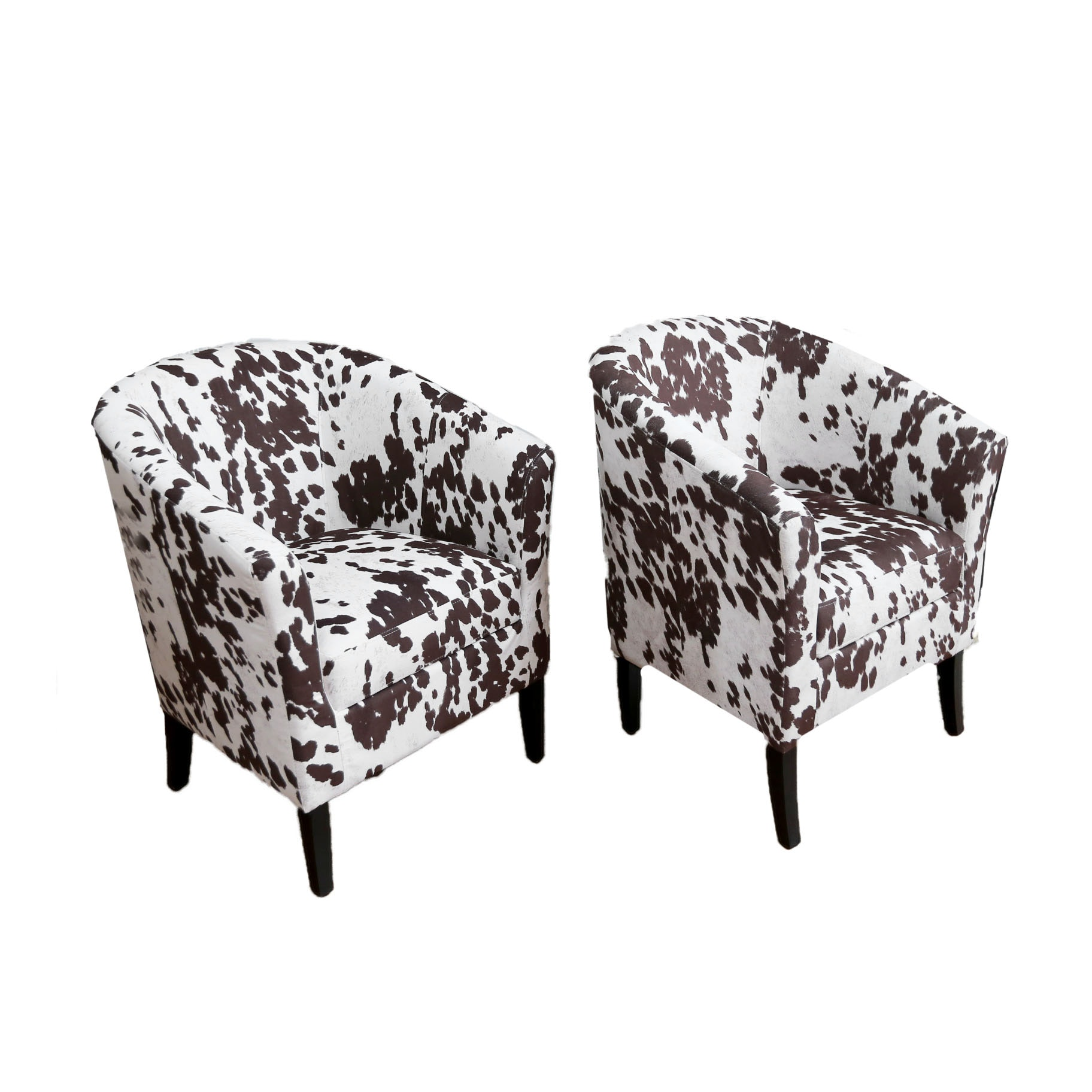 Contemporary Cowhide Print Barrel Chairs ...
