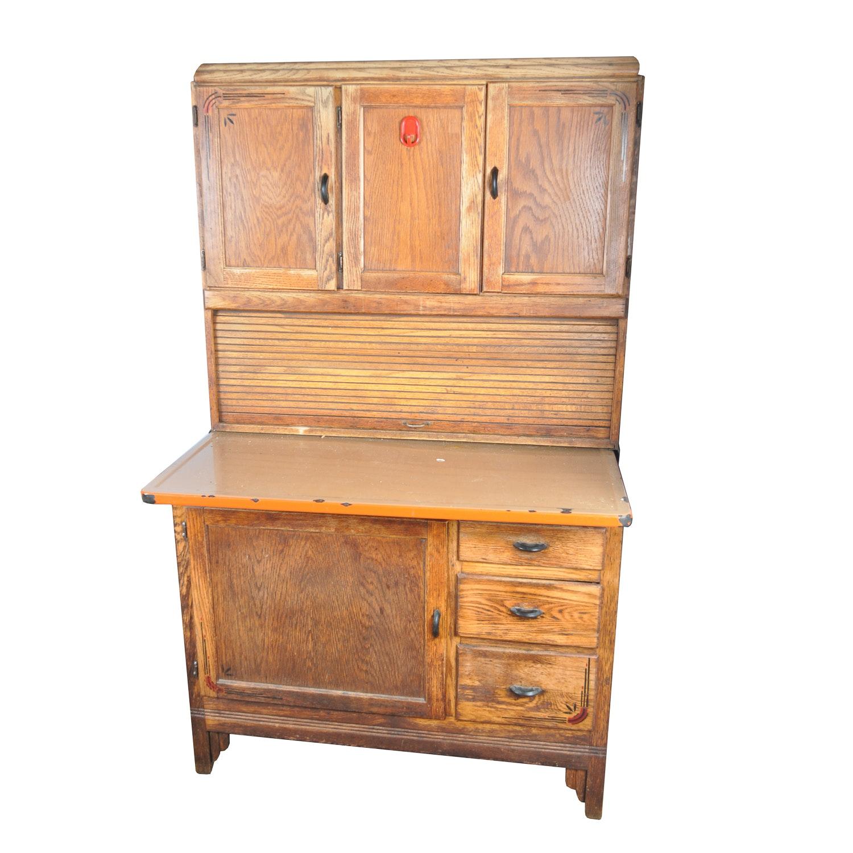 Early 20th Century Hoosier Style Oak Kitchen Cabinet