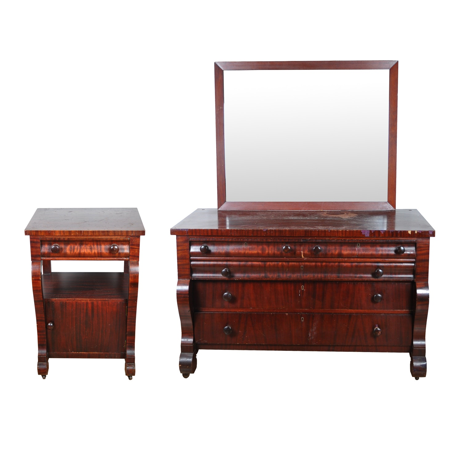 Antique Empire Style Mirror-Backed Dresser and Nightstand