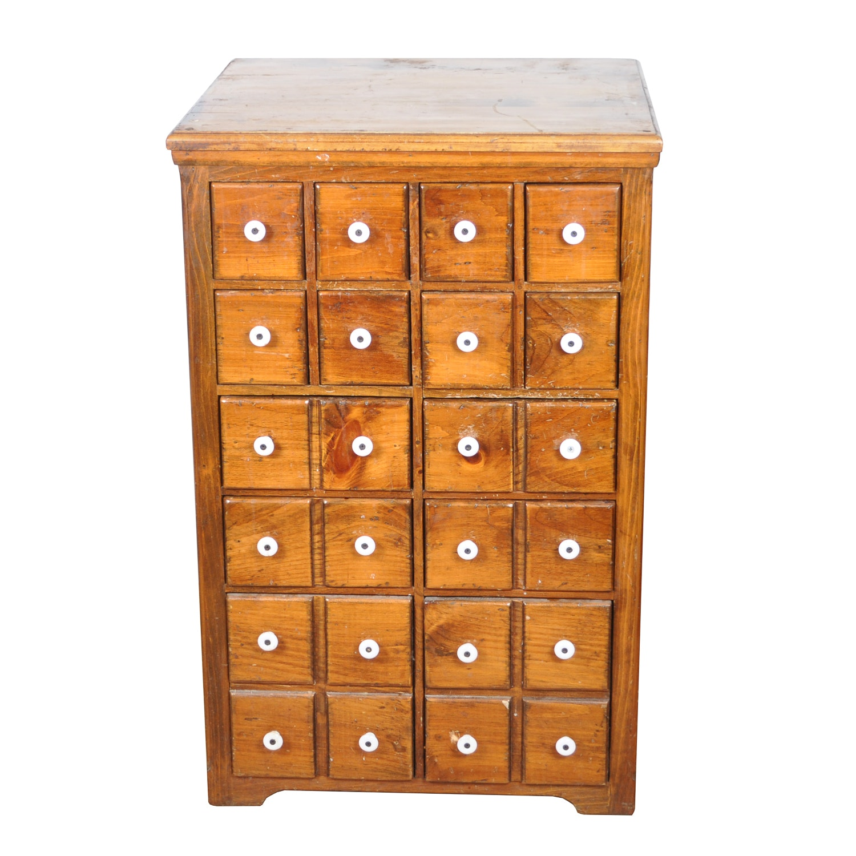Mid-Century Pine Apothecary Cabinet