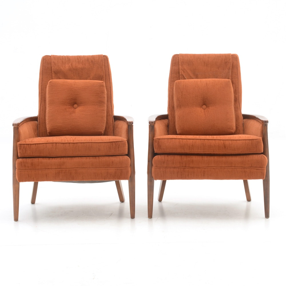 Pair of Vintage Burnt Orange Armchairs