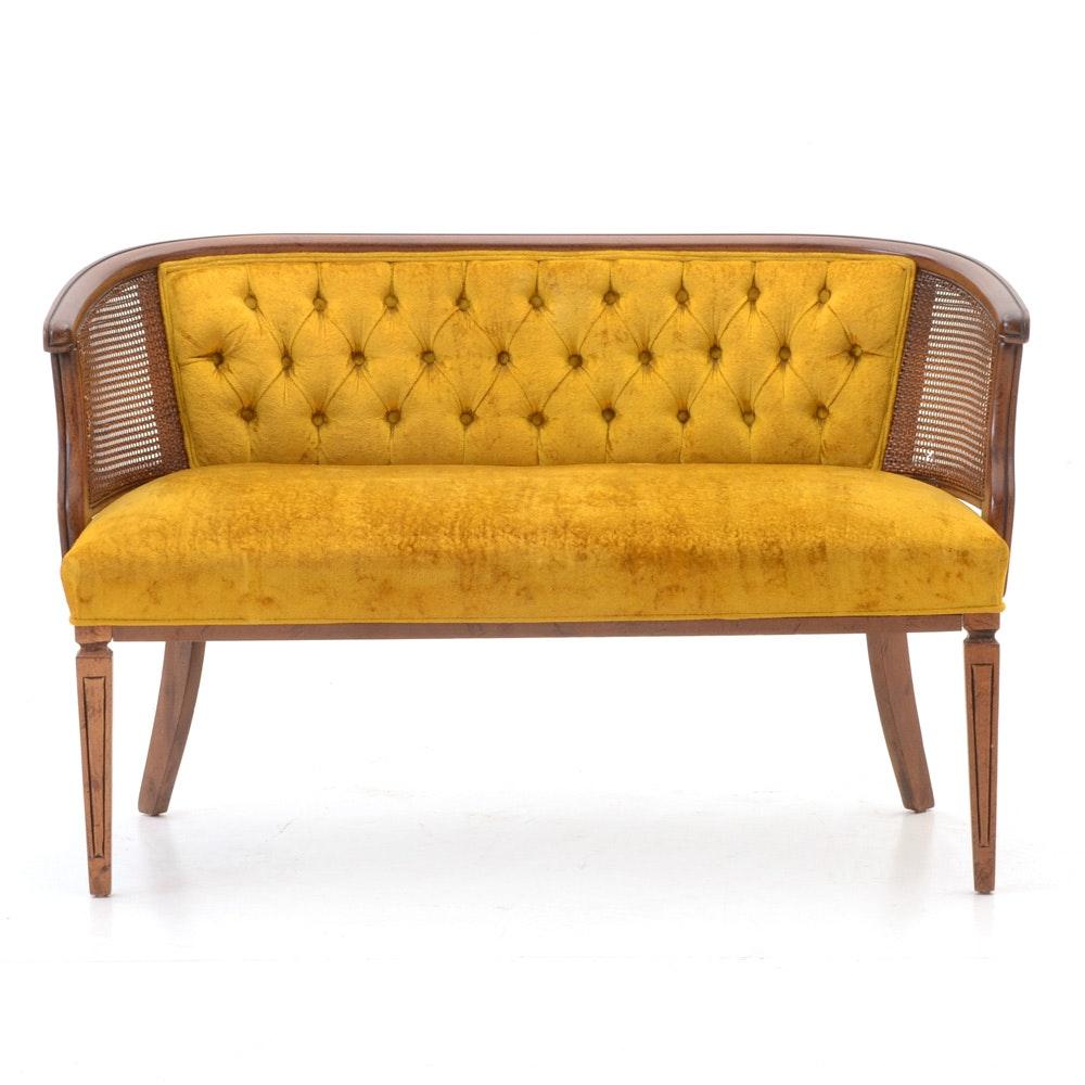 Vintage Goldenrod Velvet Loveseat