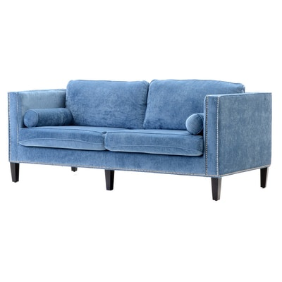 "Tov ""Cooper"" Sofa in Blue Velvet"