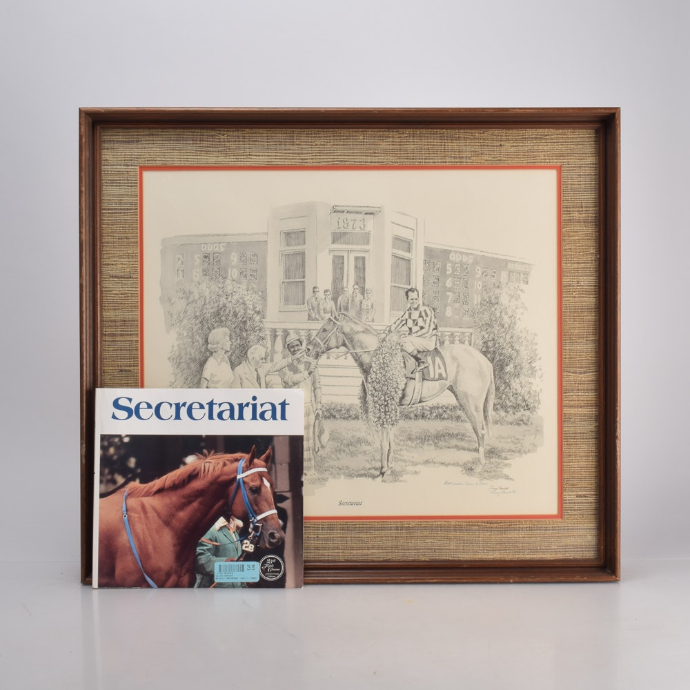 "Tony Oswald Framed Offset Lithograph of Etching ""Secretariat"""