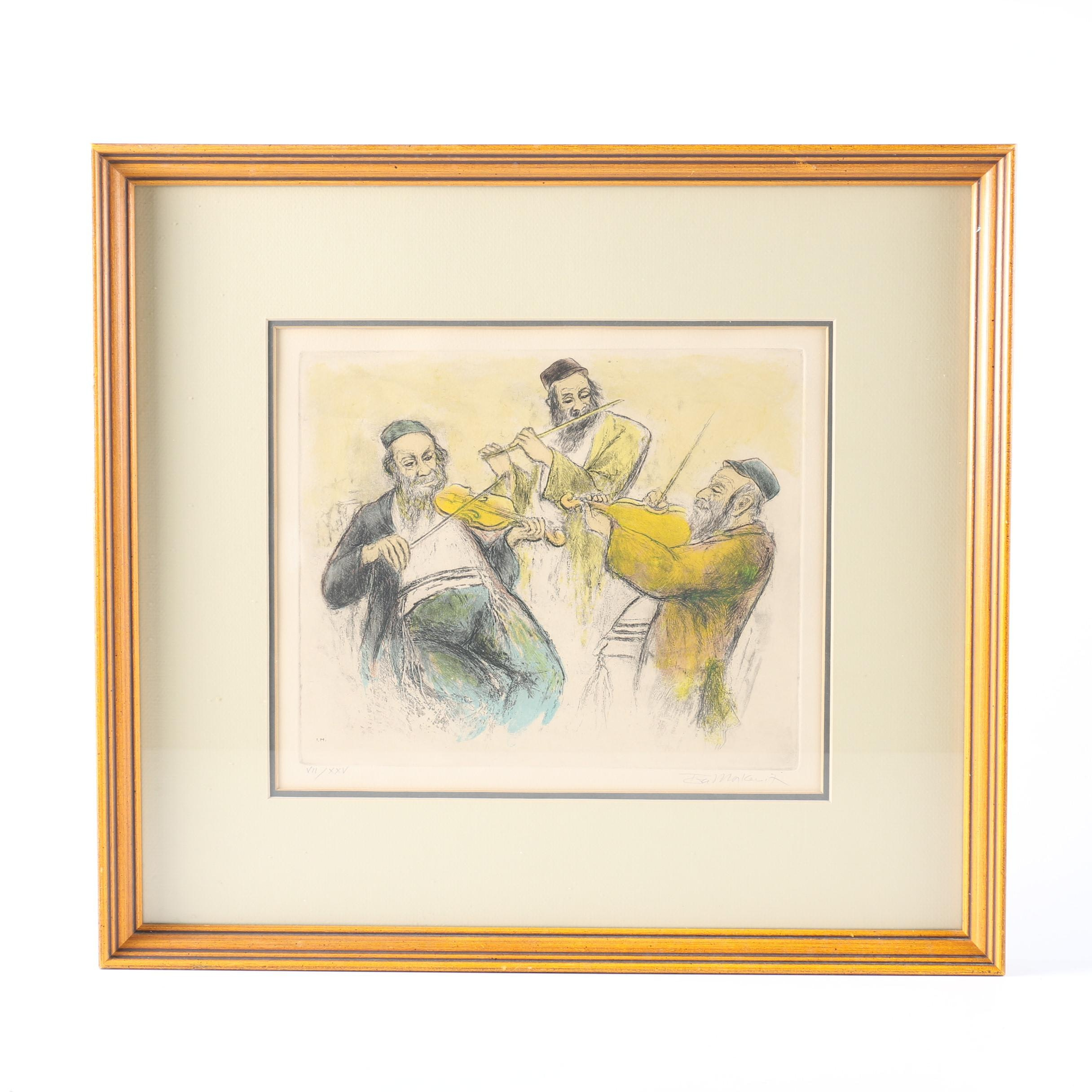 "Ira Moskowitz Limited Edition Hand Colored Etching ""Three Musicians"""