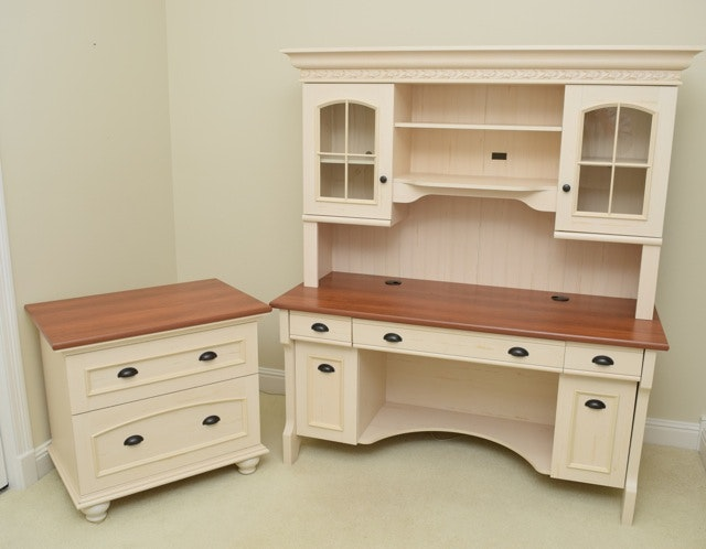 Cottage Style Desk, Hutch and Filing Cabinet