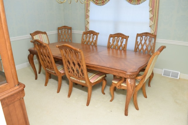 American Drew Dining Table and Eight Chairs