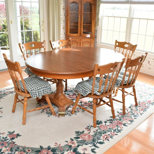 """Maple Kitchen Table With Chair And Bench Ebth: Cochrane Penn """"Bay Colony"""" Dining Table And Six Maple"""