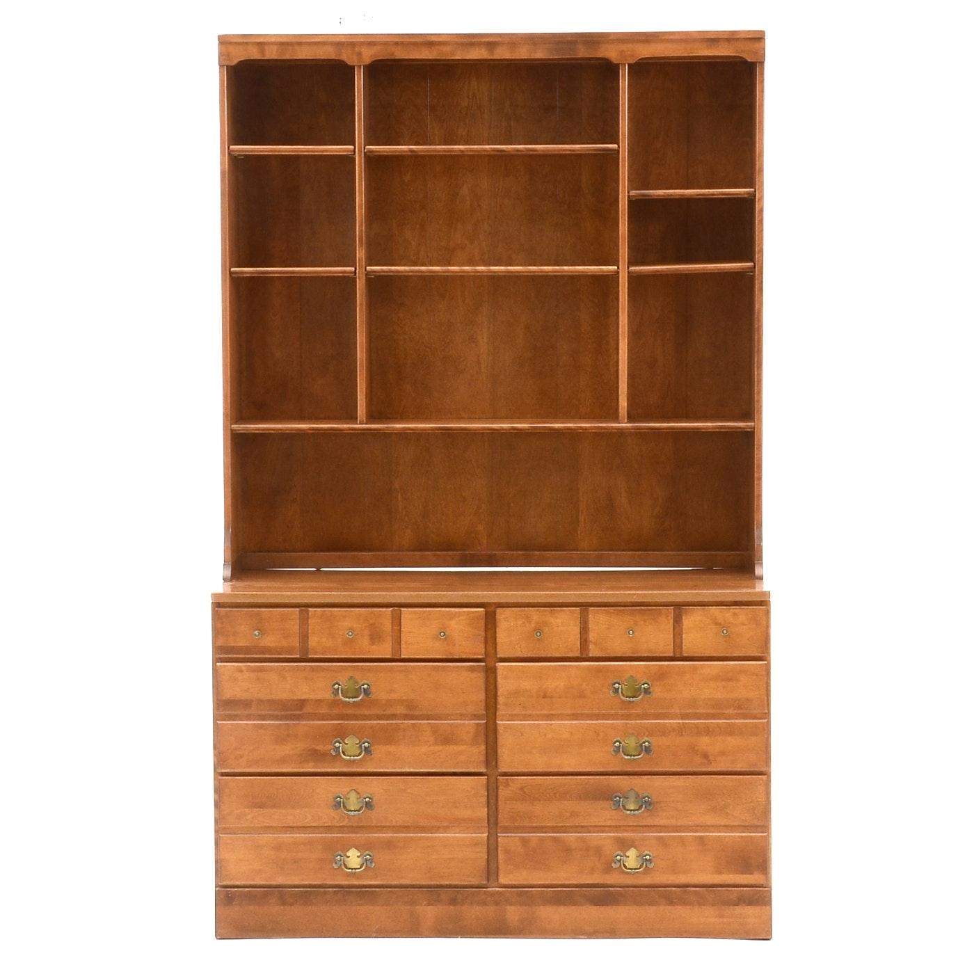Ethan Allen Maple Bookcase-on-Dresser