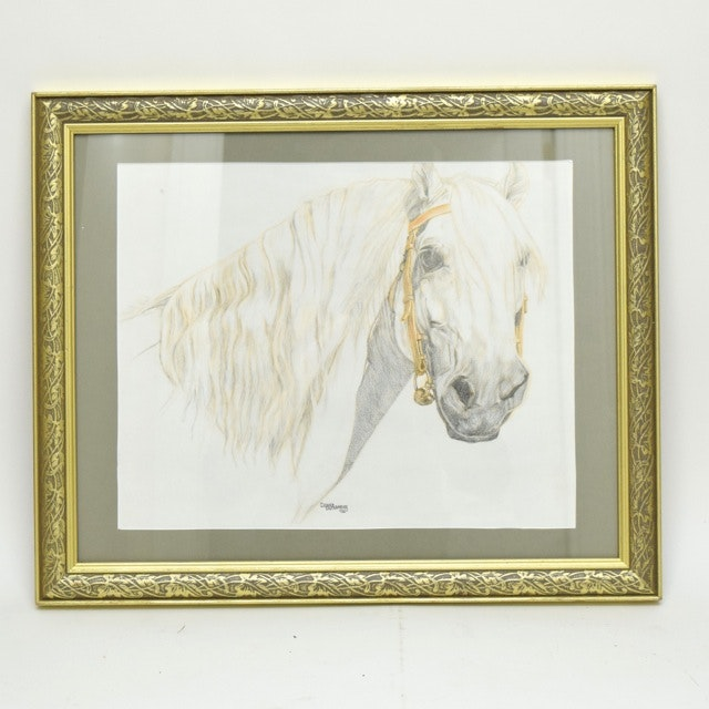 Signed Original Equine Themed Charcoal and Pastel on Paper