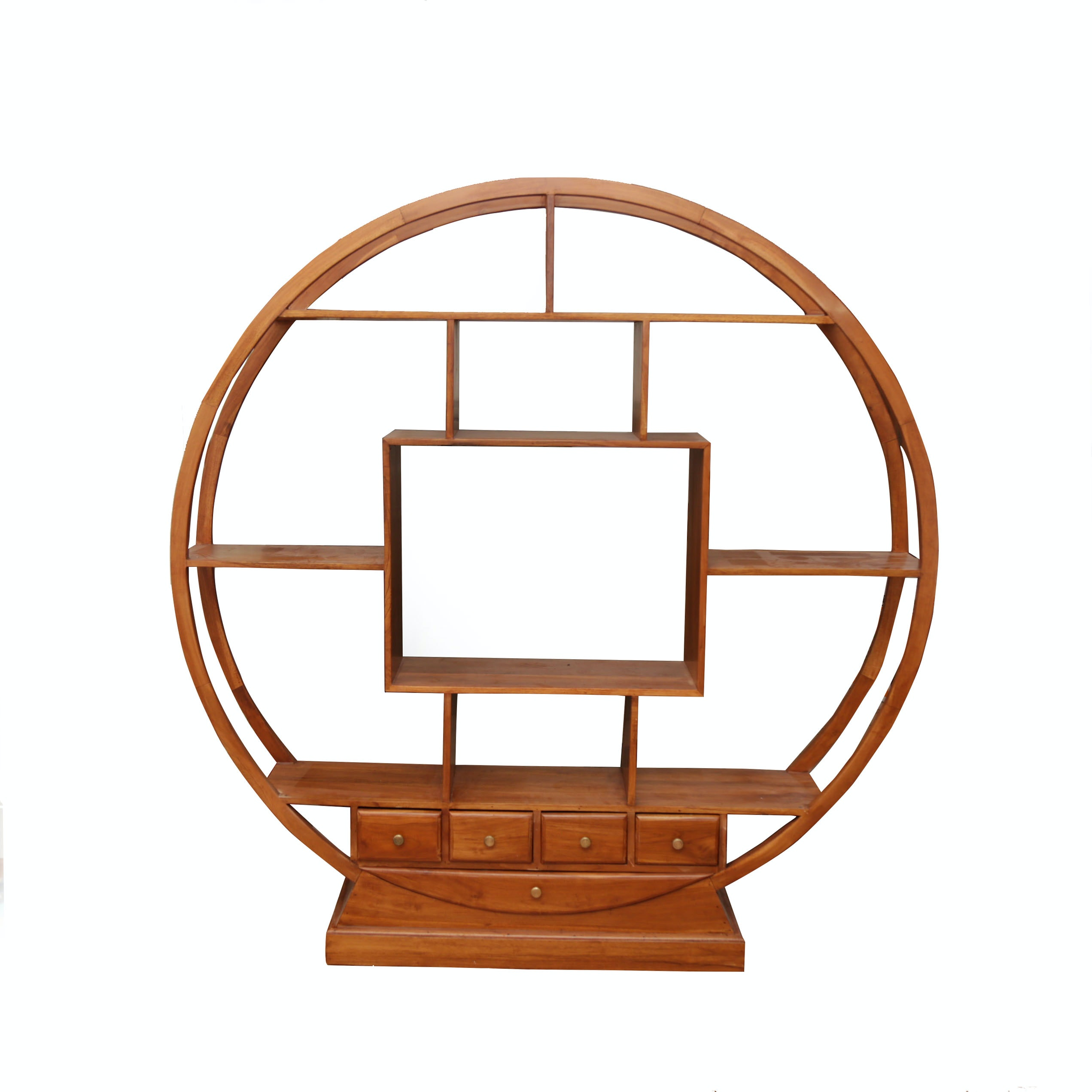 Round Chinese-Inspired Hardwood Cabinet