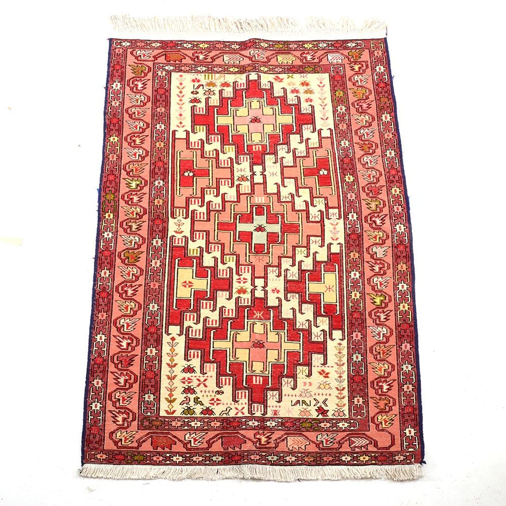Vintage Iranian Handwoven Soumak Silk Accent Rug