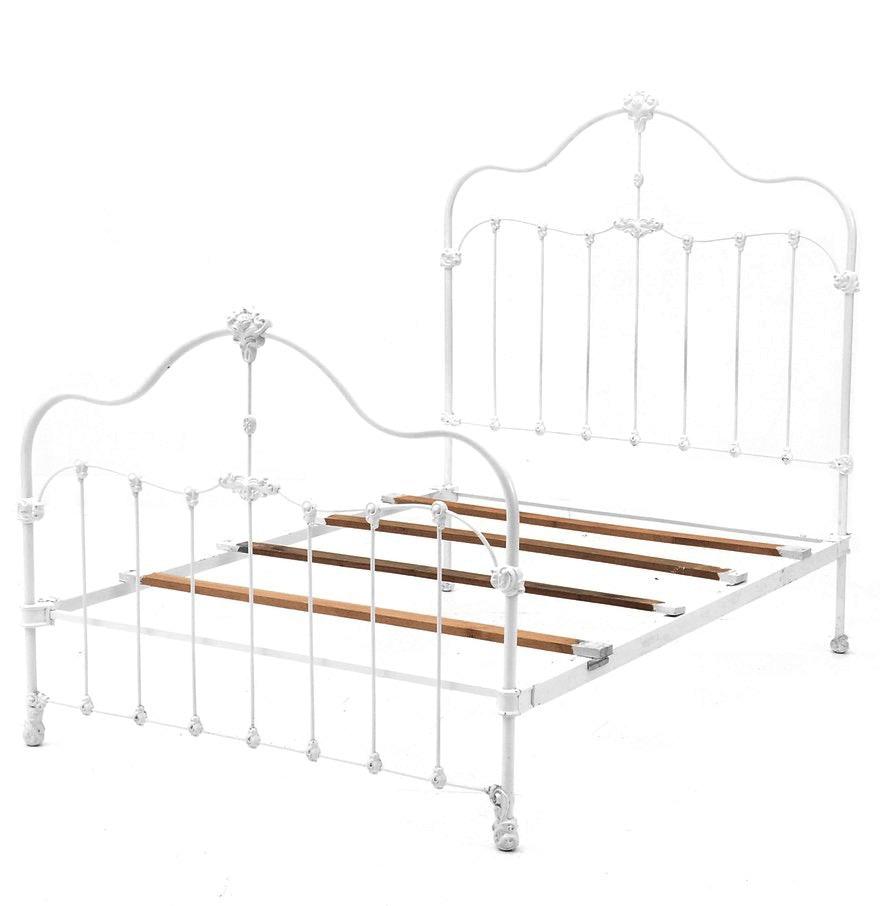 vintage white painted metal full bed frame