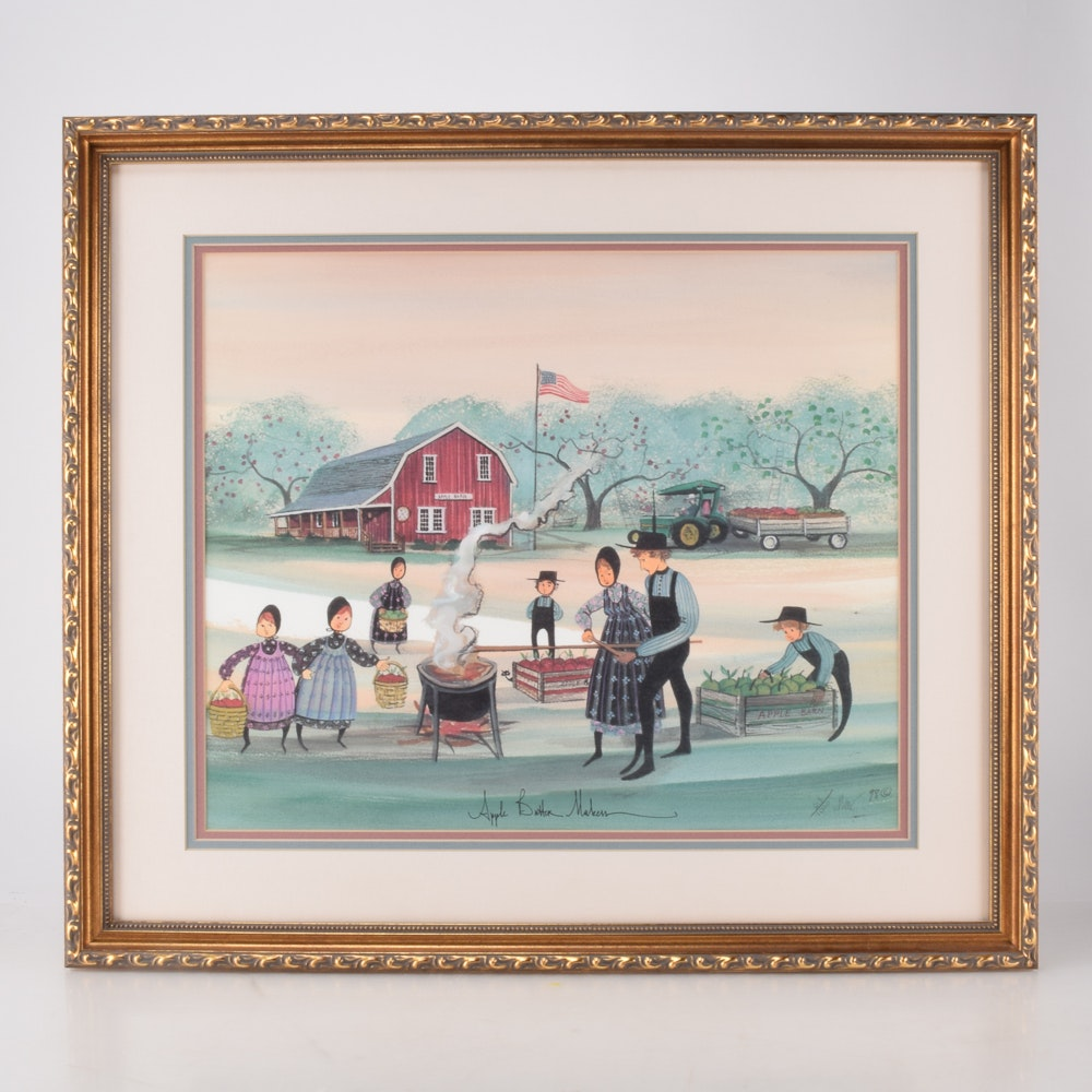 """P. Buckley Moss Signed Limited Edition Offset Lithograph """"Apple Butter Makers"""""""