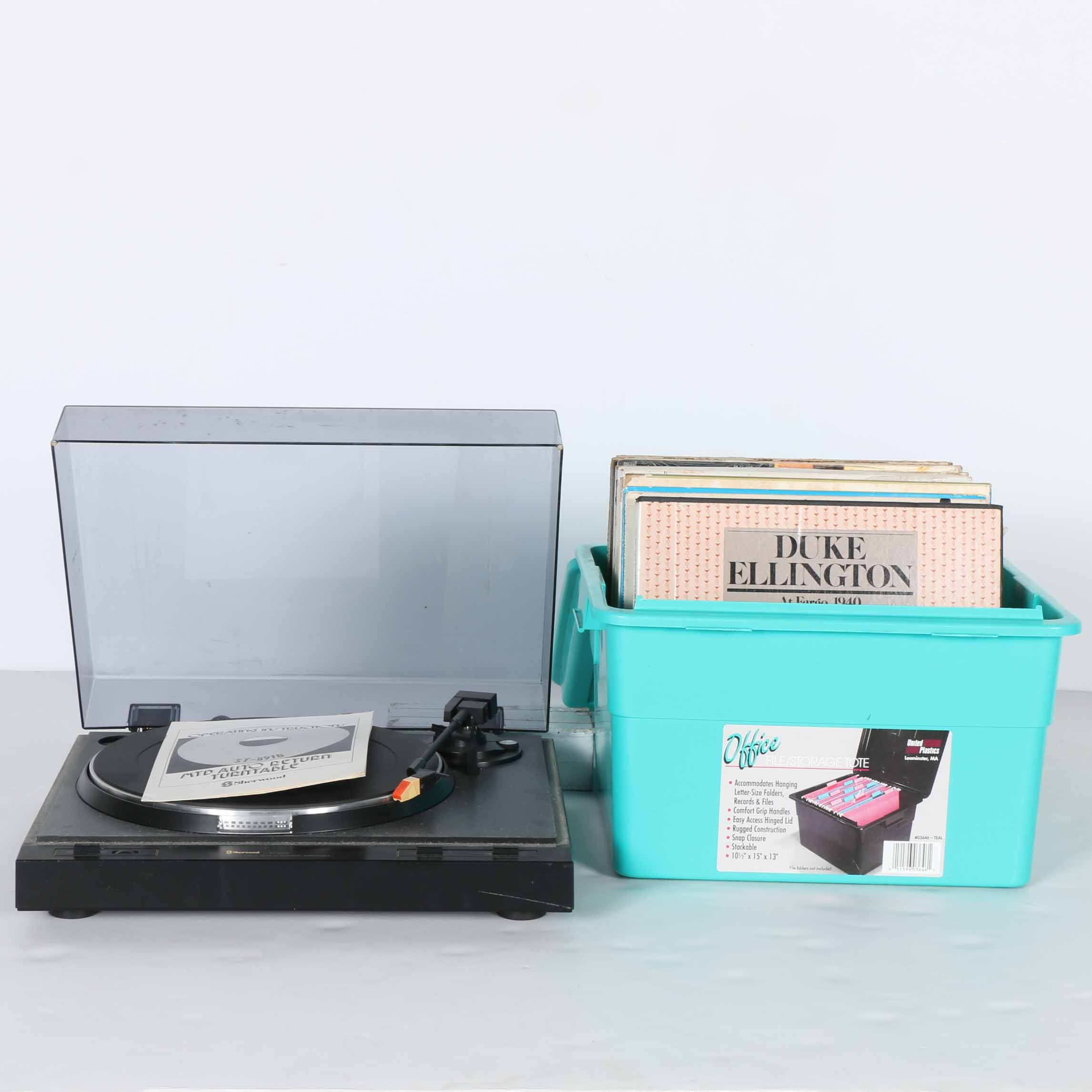 Sherwood Turntable With Jazz and Other LPs