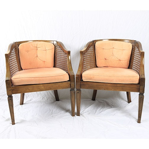 Pair of Mid 20th Century Cane Barrel Back Chairs