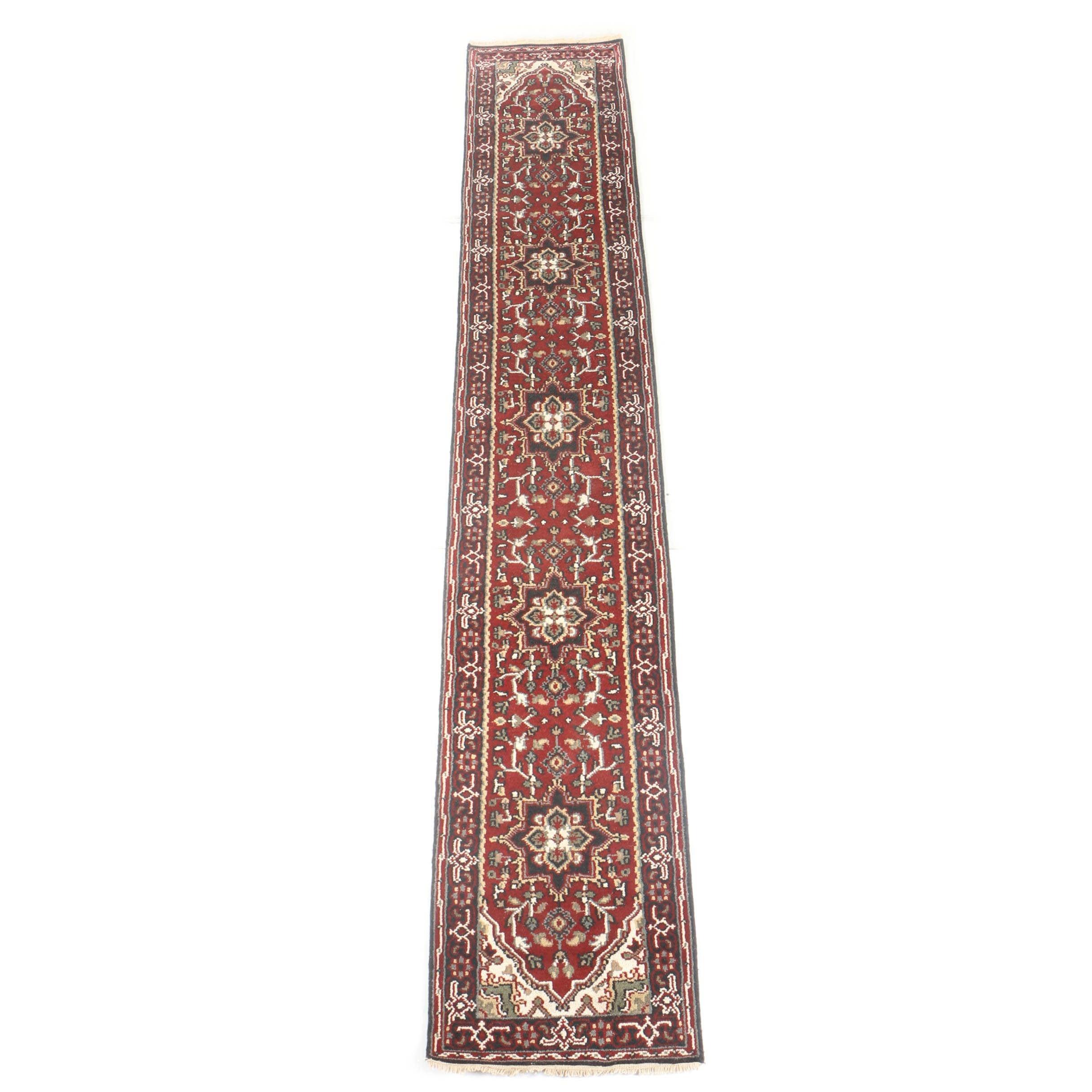 Hand-Knotted Indo-Heriz Serapi Carpet Runner