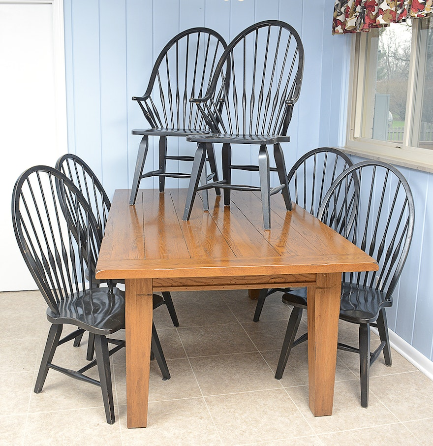 Rustic Farmhouse Kitchen Table And Windsor Chairs : EBTH