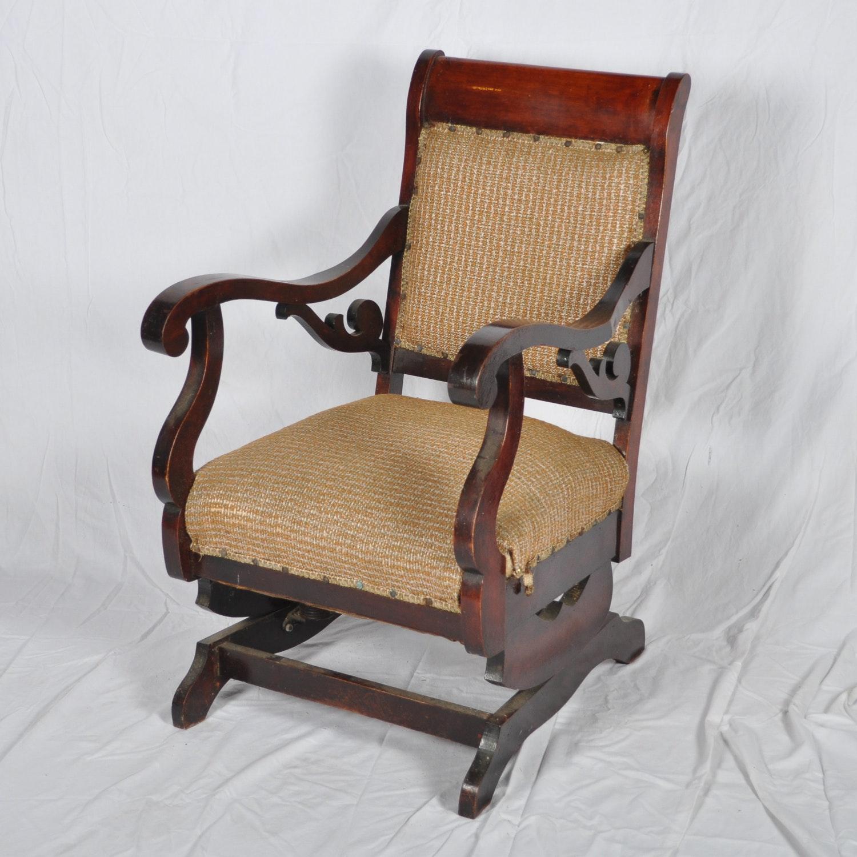 Vintage Upholstered Spring Rocking Chair