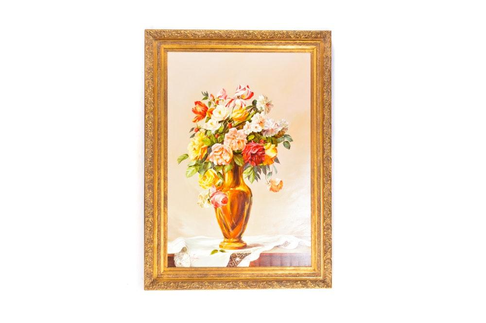 "Silvia Tejada Oil on Canvas Still Life ""Vase of Flowers"""