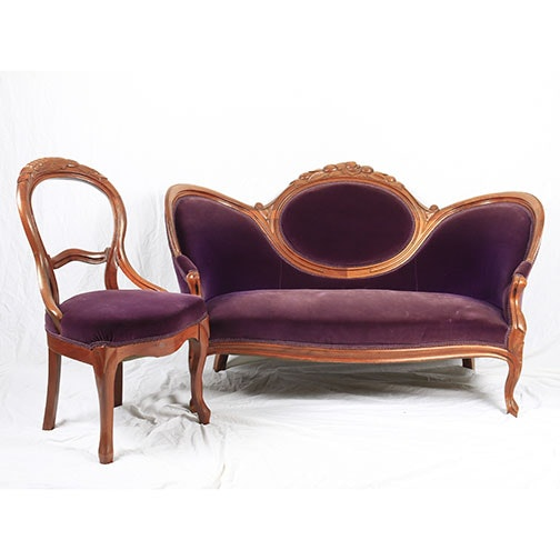 Victorian Style Balloon Back Settee and Chair