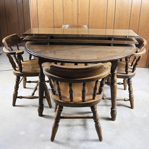 Barrel Back Dining Table and Chairs Set