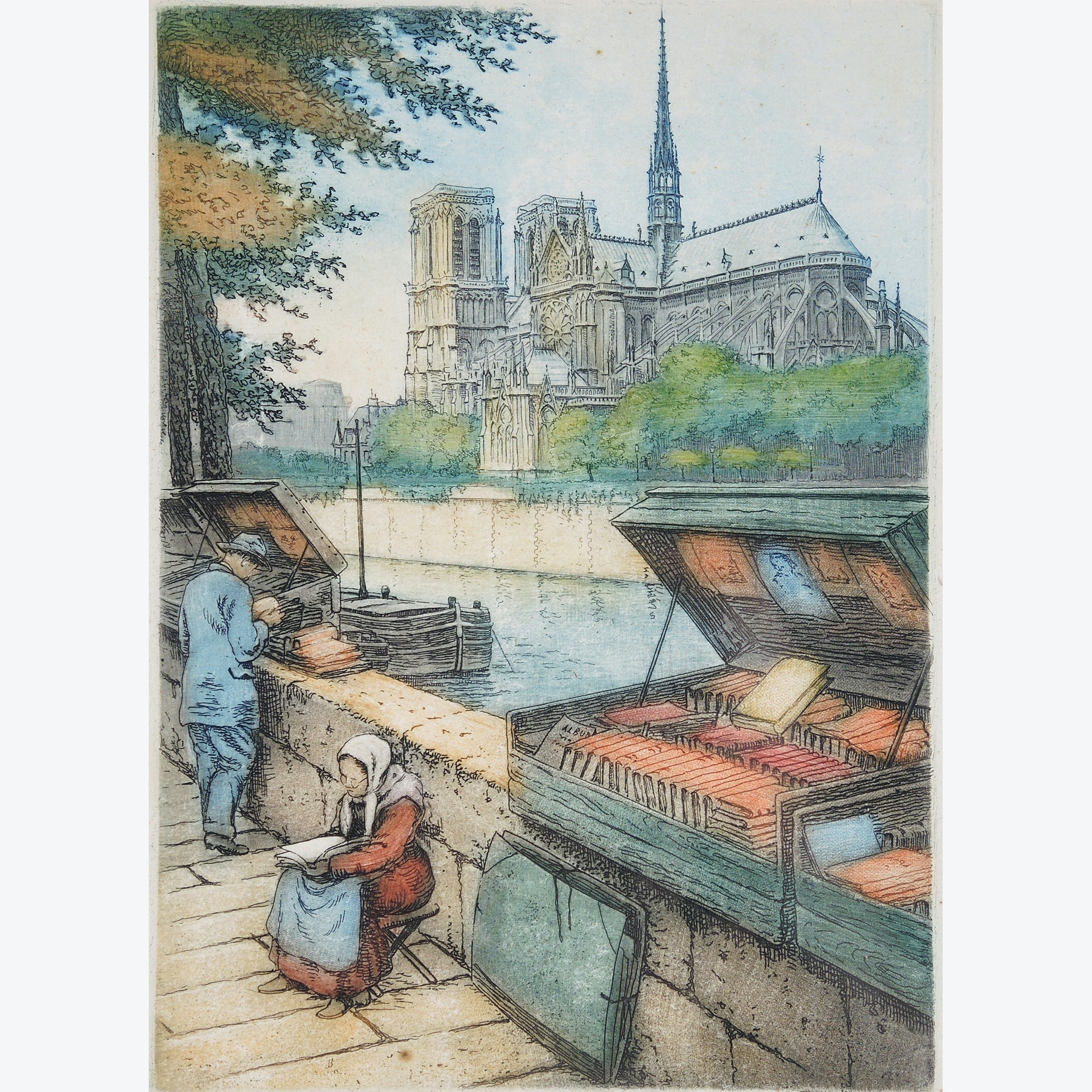 "Victor Valery Etching ""Along the Quay"""