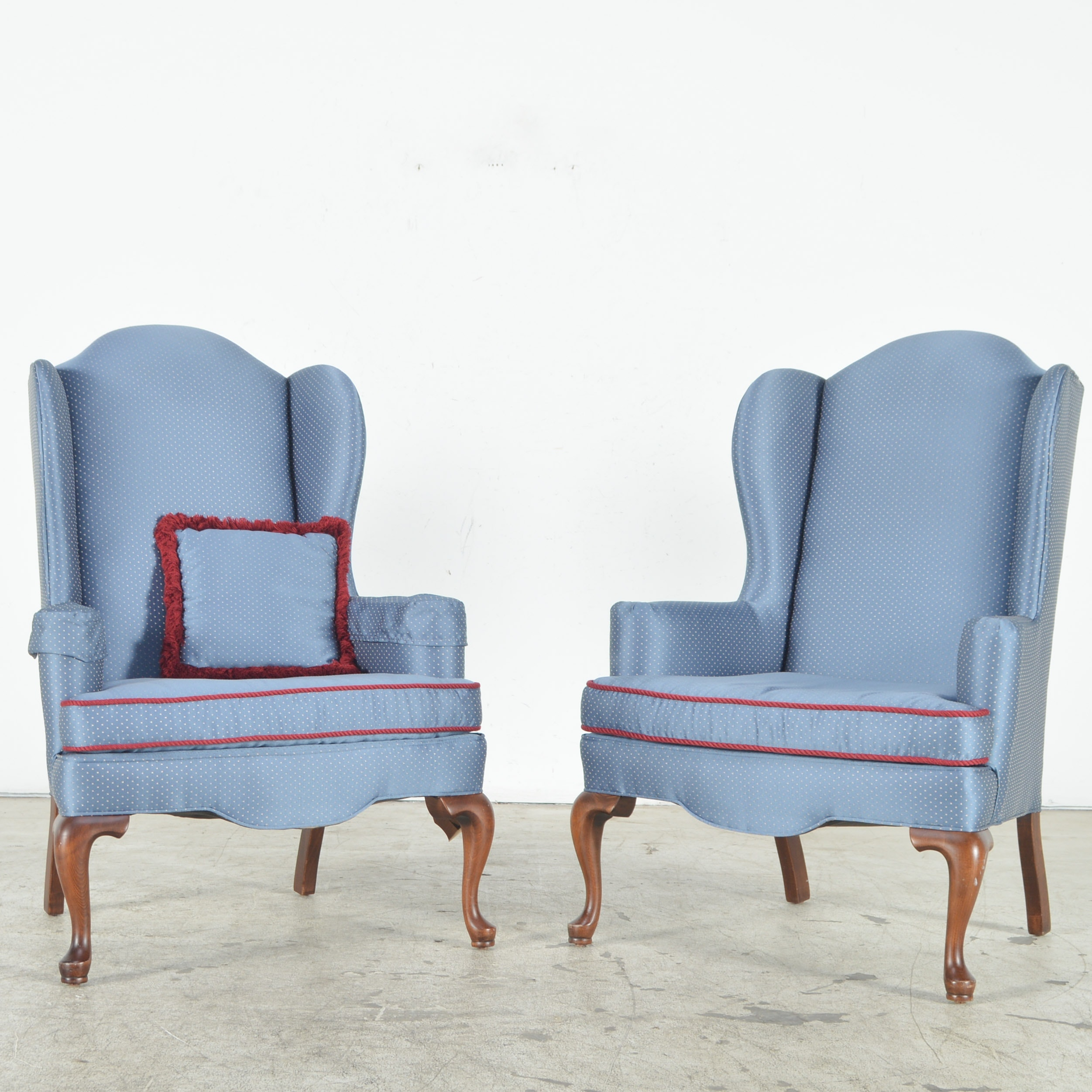 Ethan Allen Blue Upholstered Wingback Chairs ...