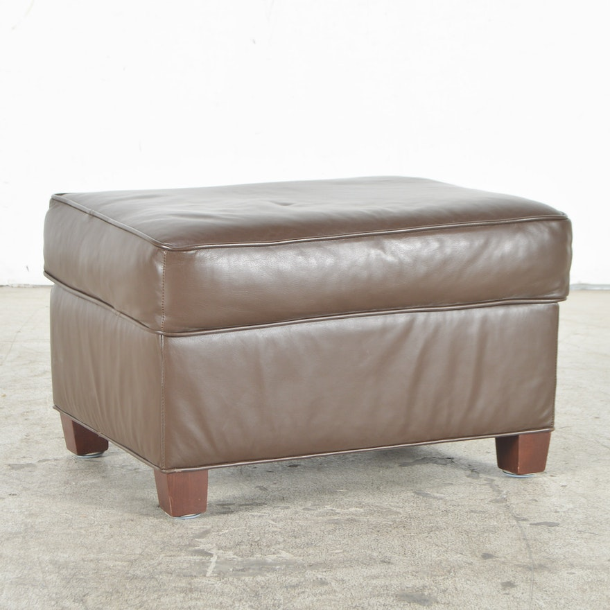 Norwalk Leather Sofa: Norwalk Furniture Brown Leather Ottoman : EBTH