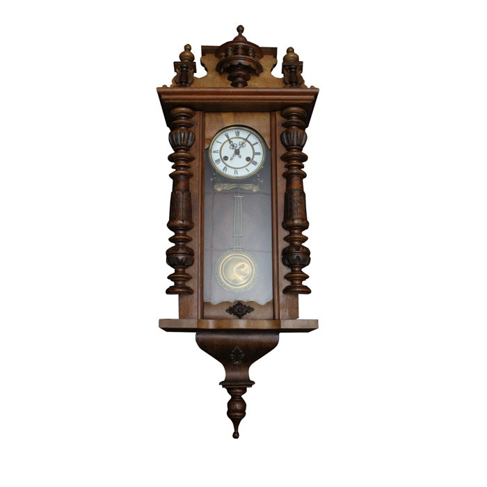 antique pendulum wall clock in walnut case - Pendulum Wall Clock