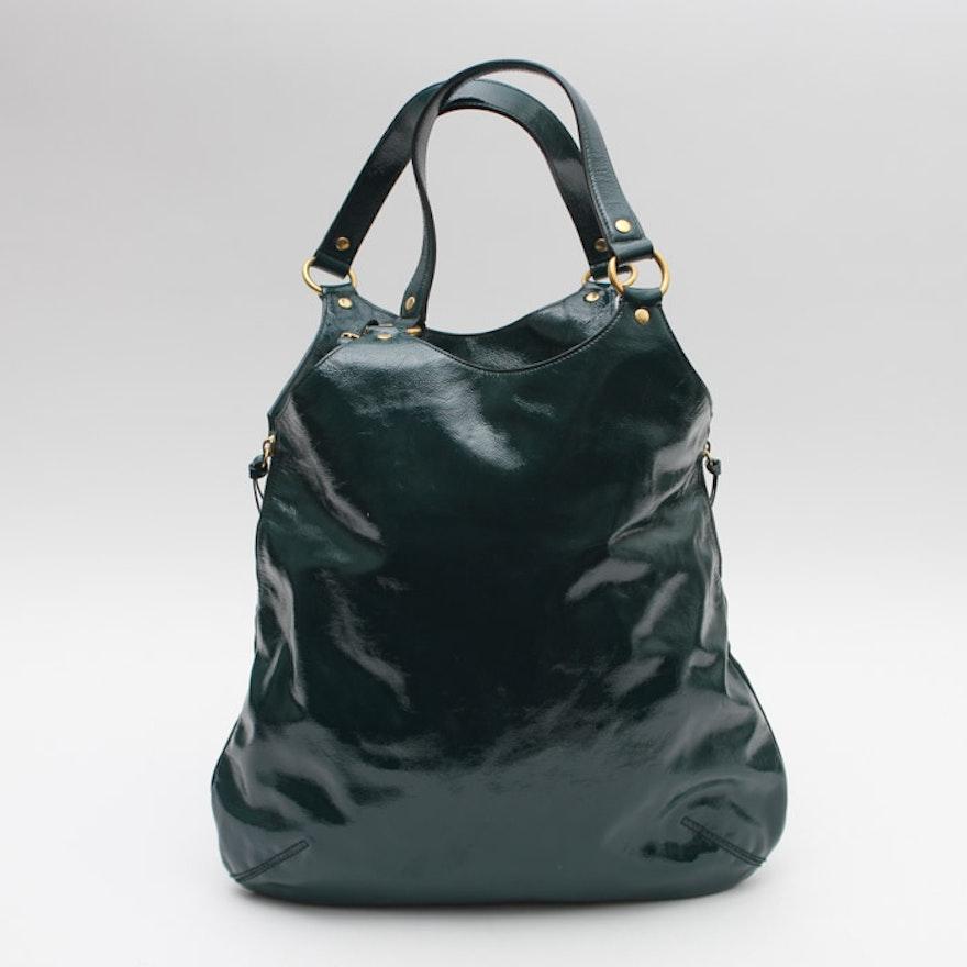 94693dc476d Yves Saint Laurent Green Patent Leather Hobo Bag : EBTH