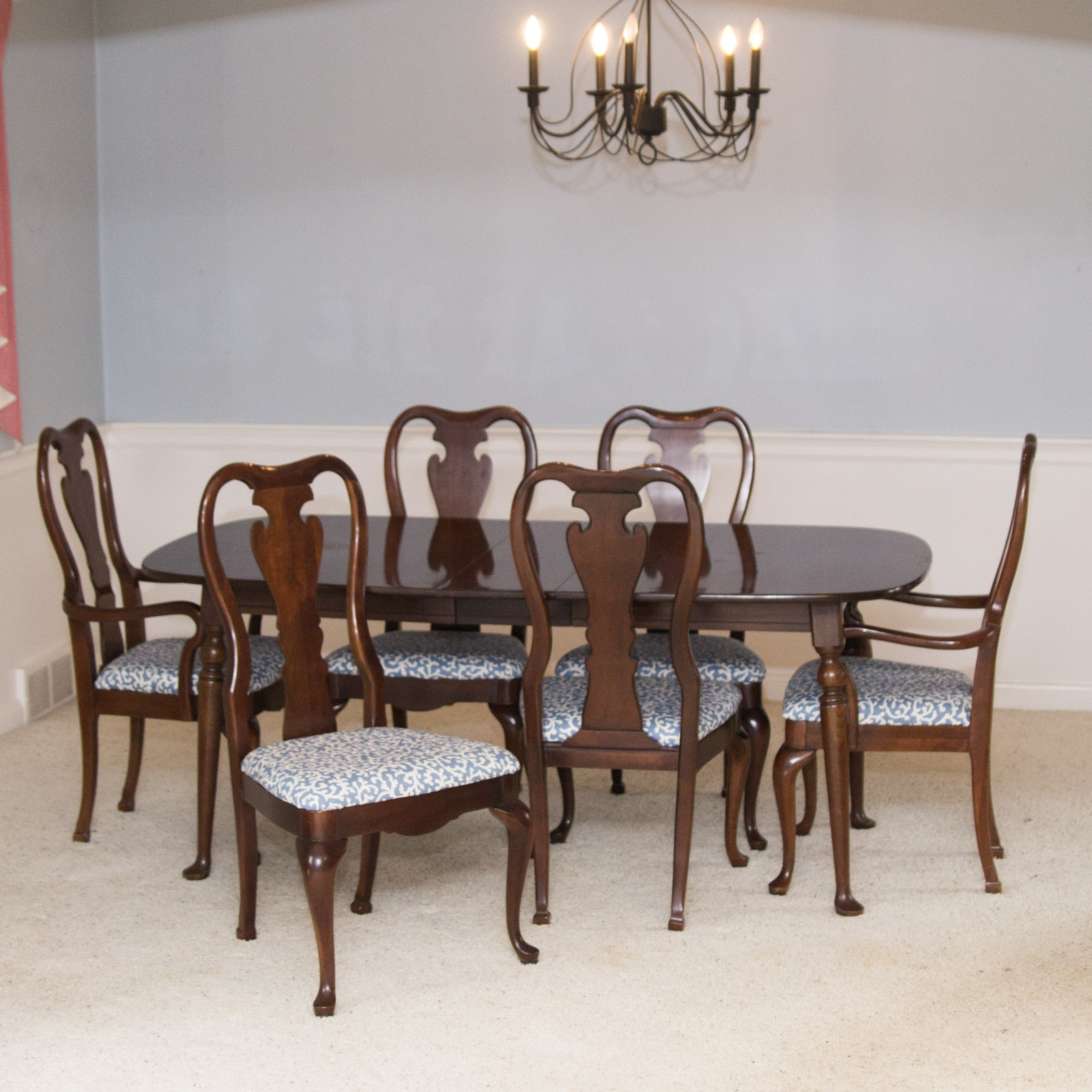 Thomasville Furniture Queen Anne Style Dining Table And Chair Set ...