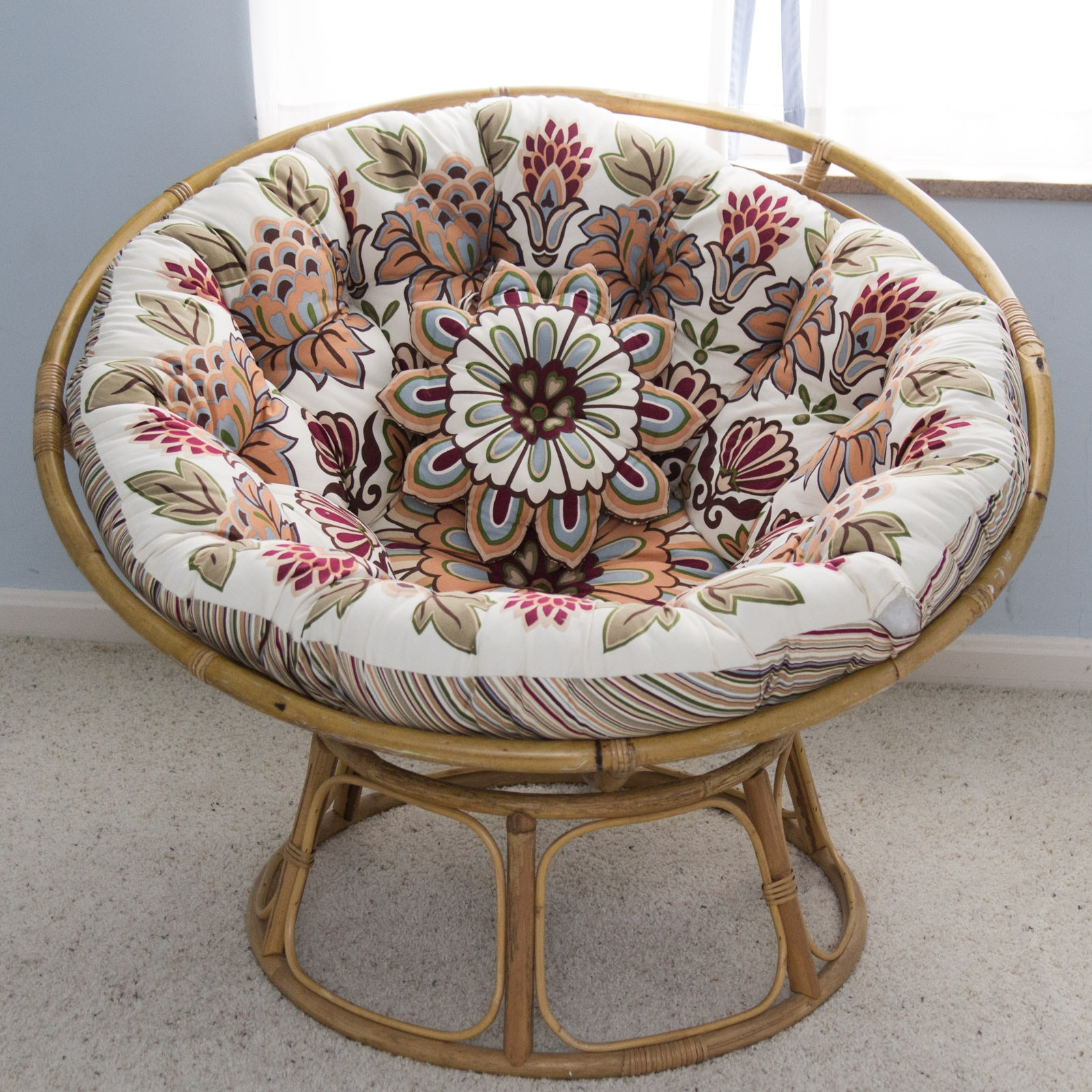 Marvelous Vintage Bamboo Moon Chair With Cushion ... Images