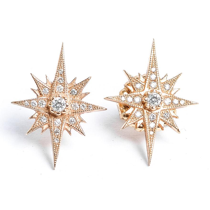 18k Rose Gold And Diamond Starburst Earrings