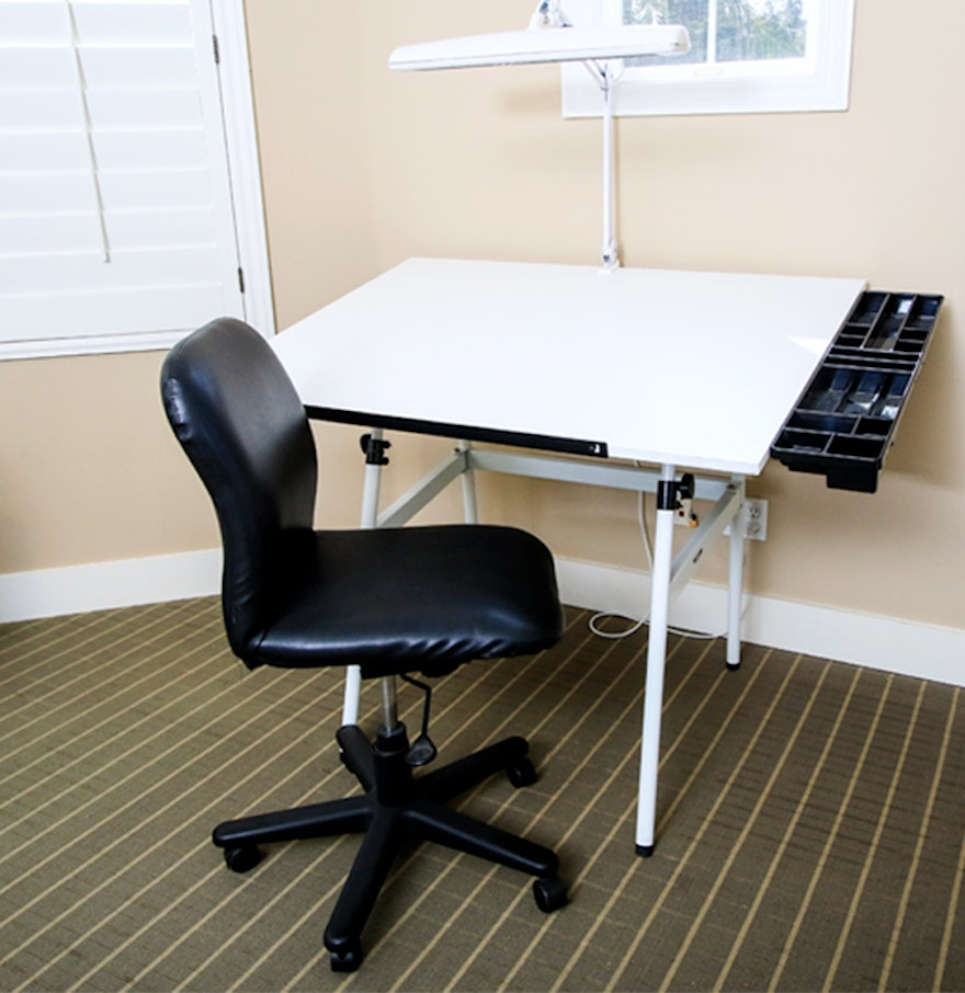 Office chair for drafting table - A Drafting Table Office Chair And Lamp