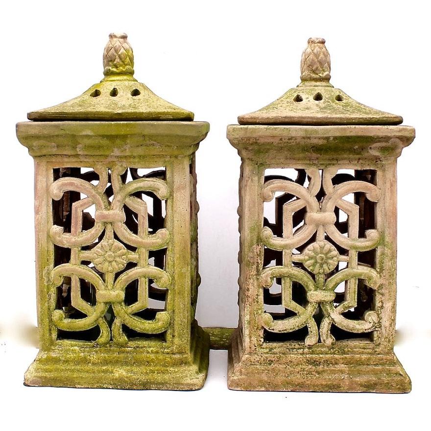 two cast terra cotta patio lanterns - Patio Lanterns