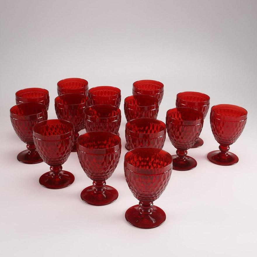 "Boston Water Glass Villeroy Boch: Villeroy & Boch ""Boston Red"" Red Glass Water Goblets"