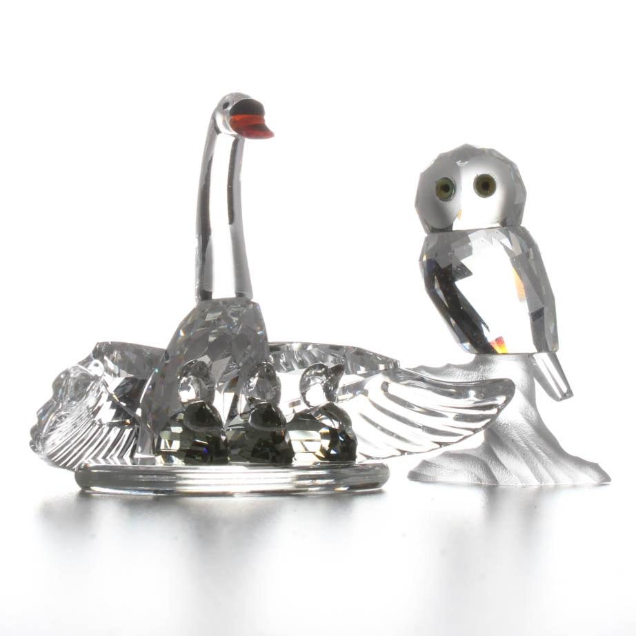 Pair of Swarovski Crystal Bird Figurines