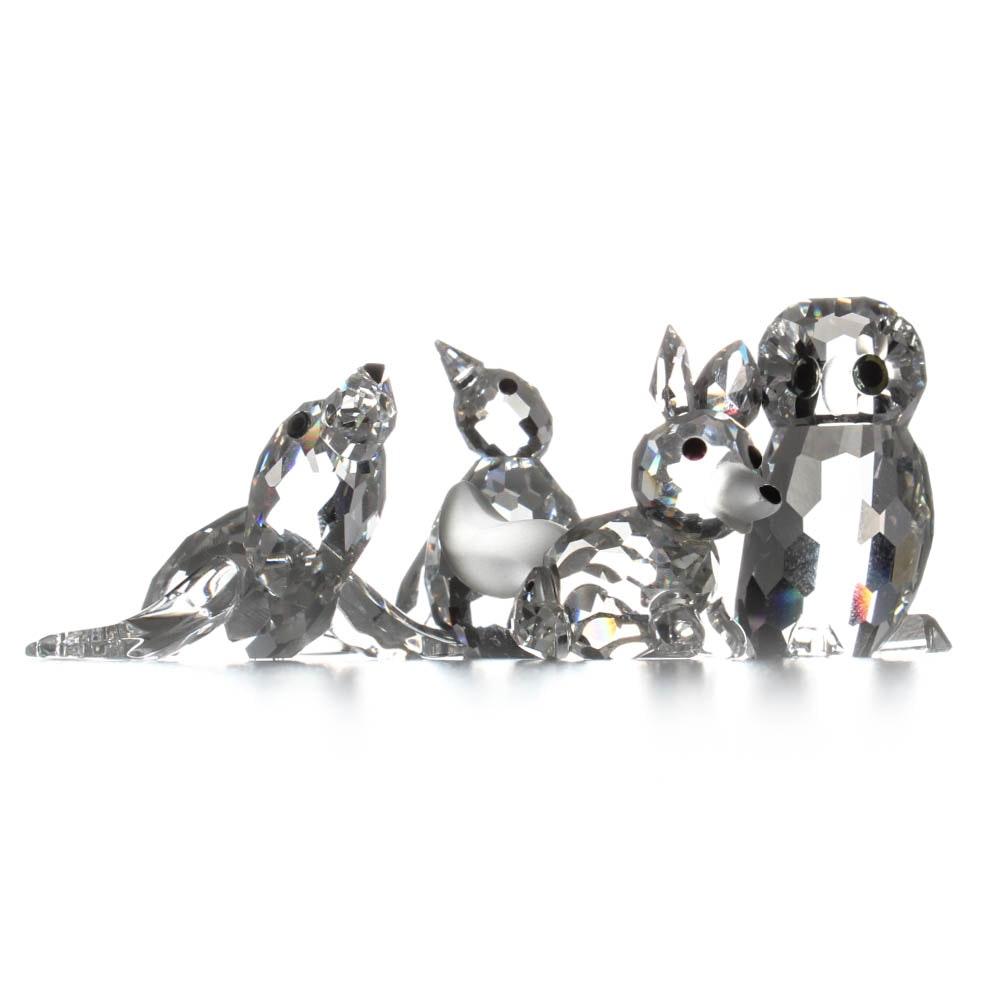 Swarovski Crystal Figurines with Mirrored Stand